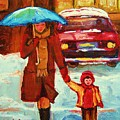 Moms Blue Umbrella by Carole Spandau