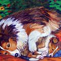 Mom's Love - Shetland Sheepdog by Lyn Cook