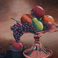 Mom's Pink Dish With Fruit by Lorraine Vatcher