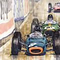 Monaco Gp 1964 Brm Brabham Ferrari by Yuriy  Shevchuk