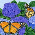 Monarch Butterflies And Hydrangeas by Sarah Batalka