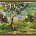 Monetcalia Catus 1 No. 3 Landscape Scene Near Fontainebleau L B With Alt. Decorative Printed Frame. by Gert J Rheeders