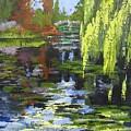 Monets Garden Painting Palette Knife by Chris Hobel
