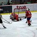 Mongolia Team Players Defend Goal Vs Malaysia In Ice Hockey Match In Rink Bangkok Thailand by Imran Ahmed