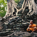 Monk At Preah Palilay Temple by Serge Karloff