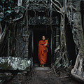 Monk At  Ta Prohm Temple  by Serge Karloff