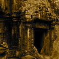 Monks Leaving Angkor Wat by Louise Fahy