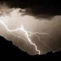 Mono Tone Lightning Striking The Ridge by James BO  Insogna