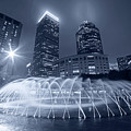 Monochrome Blue Boston Reflecting Pool Fountain Boston Ma by Toby McGuire