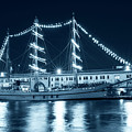 Monochrome Blue Boston Tall Ships At Night Boston Ma by Toby McGuire