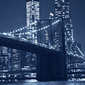 Monochrome Blue Brooklyn Bridge From Empire Fulton Ferry State Park by Toby McGuire