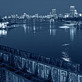 Monochrome Blue Nights Charles River At Dusk Dewolfe Boathouse Boston Skyline by Toby McGuire