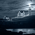 Monochrome Blue Nights The Supermoon Rising Over The Nubble Lighthouse York Maine Reflection by Toby McGuire