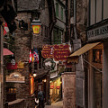 Mont-st-michel, Grand Rue At Night by Ted Lang