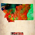 Montana Watercolor Map by Naxart Studio
