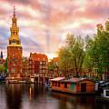 Montelbaanstoren At Sunset - Amsterdam, Netherlands by Nico Trinkhaus