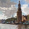 'montelbaanstoren' In Amsterdam By Cornelis Vreedenburgh Dutch 1880-1946 by Cornelis Vreedenburgh