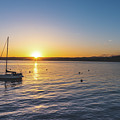 Monterey Bay Sailboat At Sunrise by Philip Rodgers