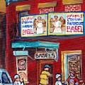 Montreal Art Fairmount Bagel Paintings For Sale Canadian Hockey Street Scene C Spandau Quebec Artist by Carole Spandau