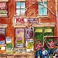 Montreal Art Local Neighborhood Grocery Canadian Hockey Paintings Carole Spandau Winterscenes Artist by Carole Spandau