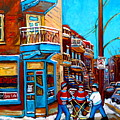 Montreal City Scene Hockey At Wilenskys by Carole Spandau