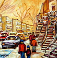 Montreal City Scene In Winter by Carole Spandau