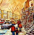 Montreal City Scene In Winter by Carole Spandau