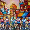 Montreal Cyclists Old Montreal Bike Race Tour De L'ile Canadian Paintings Carole Spandau             by Carole Spandau