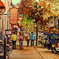 Montreal Downtown  Crescent Street Couples Walking Near Cafes And Rstaurants City Scenes Art    by Carole Spandau