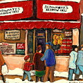 Montreal Hebrew Delicatessen Schwartzs By Montreal Streetscene Artist Carole Spandau by Carole Spandau