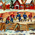 Montreal Hockey Rinks Urban Scene by Carole Spandau