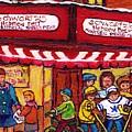 Montreal Landmarks For Sale Schwartz's Deli Winterscenes Hockey Art For Sale by Carole Spandau