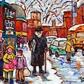 Montreal Painting St Viateur Winter Scene For Sale Rabbi With Torah Mom And Kids Schoolbus C Spandau by Carole Spandau