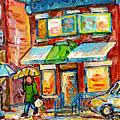 Montreal Rainy Day Paintings Fairmont Bagel Shop April Showers Umbrellas Canadian Art C Spandau      by Carole Spandau