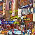 Montreal St.catherine Street Corner Peel by Carole Spandau