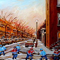 Montreal Street Hockey Game by Carole Spandau
