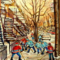 Montreal Street Hockey Paintings by Carole Spandau