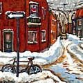 Montreal Street In Winter La Ville En Hiver Buy Montreal Paintings Petits Formats Peintures A Vendre by Carole Spandau