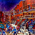 Montreal Street Scene Paintings Hockey On De Bullion Street   by Carole Spandau