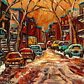 Montreal Streets In Winter by Carole Spandau