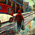 Montreal Streets Winter Morning by Carole Spandau