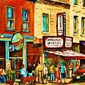 Montreal Streetscene Artist Carole Spandau Paints Schwartzs Main Street Hustle Bustle by Carole Spandau