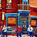 Montreal Wilensky Deli By Carole Spandau Montreal Streetscene And Hockey Artist by Carole Spandau