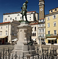 Monument And Statue Of Giuseppe Tartini At Tartini Square Piran  by Reimar Gaertner