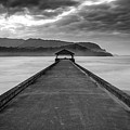 Moody Hanalei Pier In Black And White by Pierre Leclerc Photography