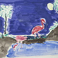 Moon Evening.flamingo. Water Color 1995 by Dr Loifer Vladimir