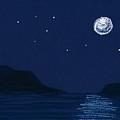 Moon On The Ocean by Hakon Soreide