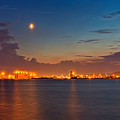 Moon Over Duluth Harbor by John M Bailey