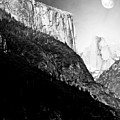 Moon Over Half Dome . Black And White by Wingsdomain Art and Photography