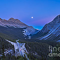 Moon Over Icefields Parkway In Alberta by Alan Dyer